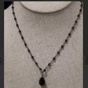 925 Silver and Garnet Choker Necklace Set